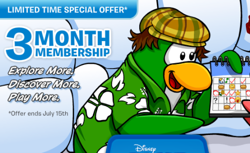 club penguin 3 month membership offer